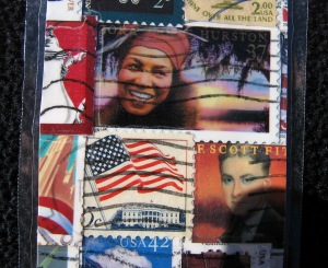 Close details of postage stamp bookmark with author Zora Neal Hurston